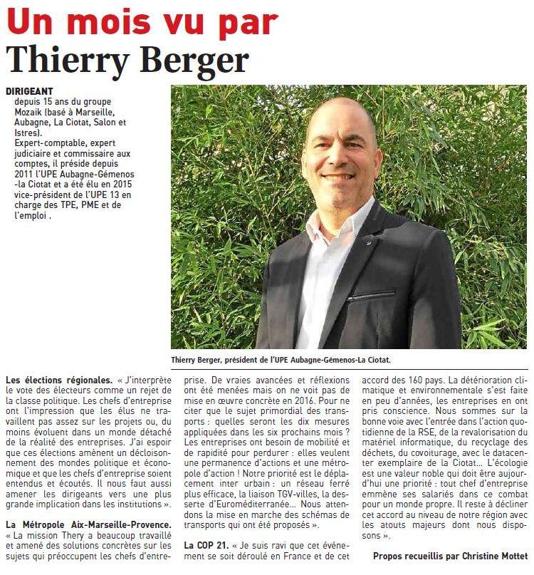 Portraits d'entrepreneurs : Thierry Berger UPE 13 Aubagne Gemenos La Ciotat